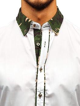BOLF Hombre Camisa De Manga Larga Cuello Americano Camisa de ...
