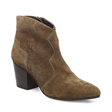 Womens Rooney Suede Stacked Heel Ankle Boots