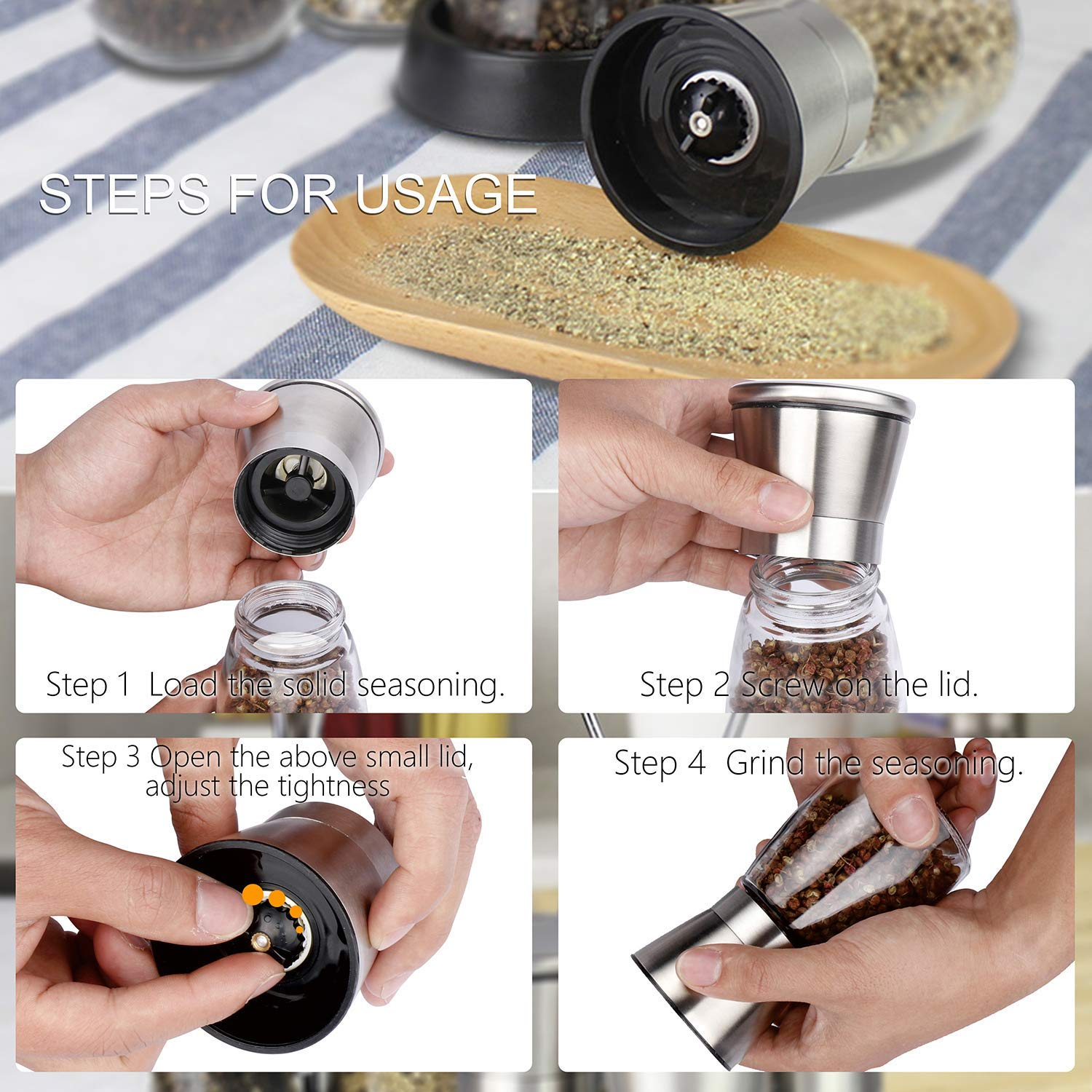Glass Body and Brushed Stainless Steel Salt and Pepper Shakers By Quinn Martin Salt and Pepper Grinder Set Gritin Set of 2 Premium Stainless Steel Salt and Pepper Mills Adjustable Coarseness