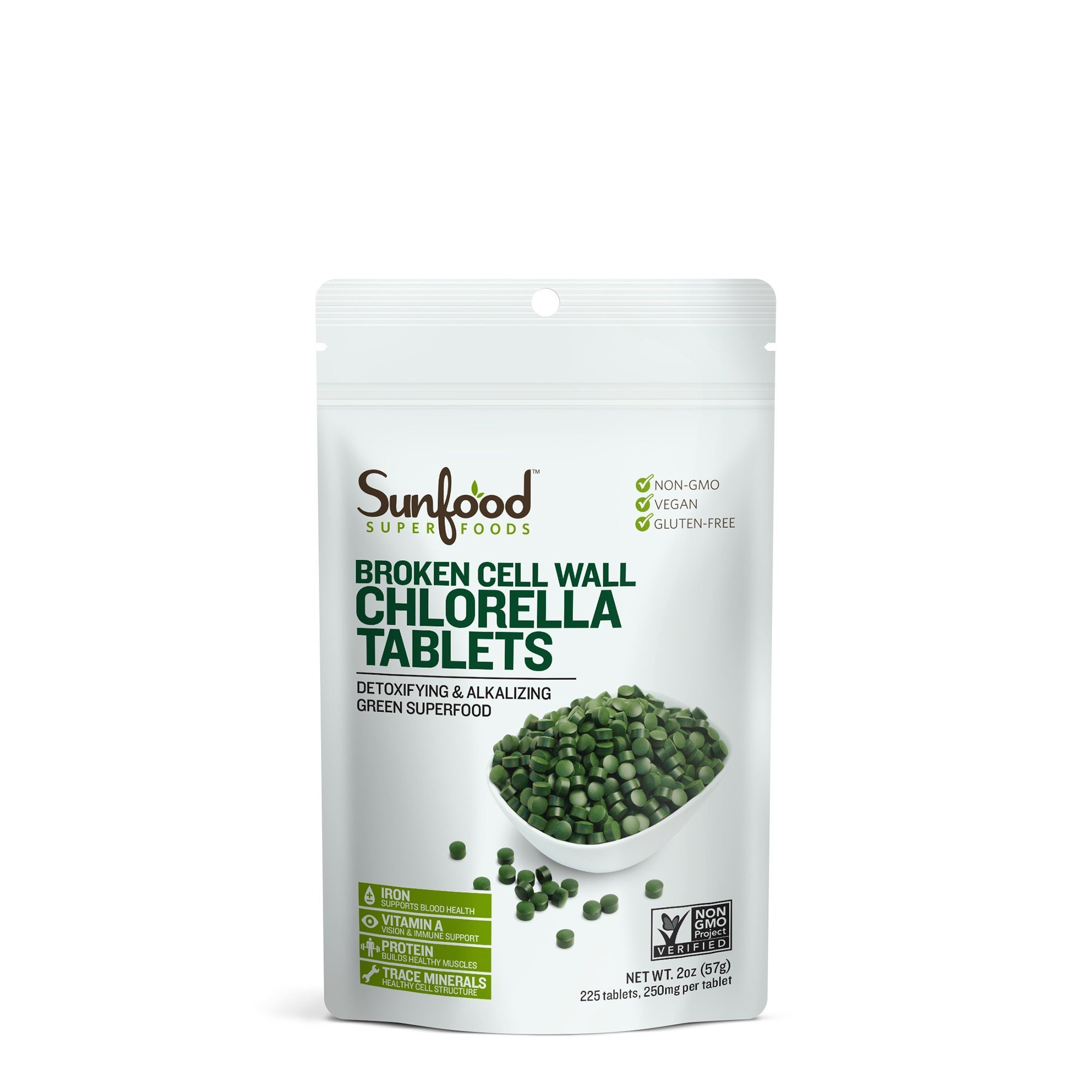 Sunfood Chlorella Tablets, 2oz (250mg per tablet / 225 tablets)