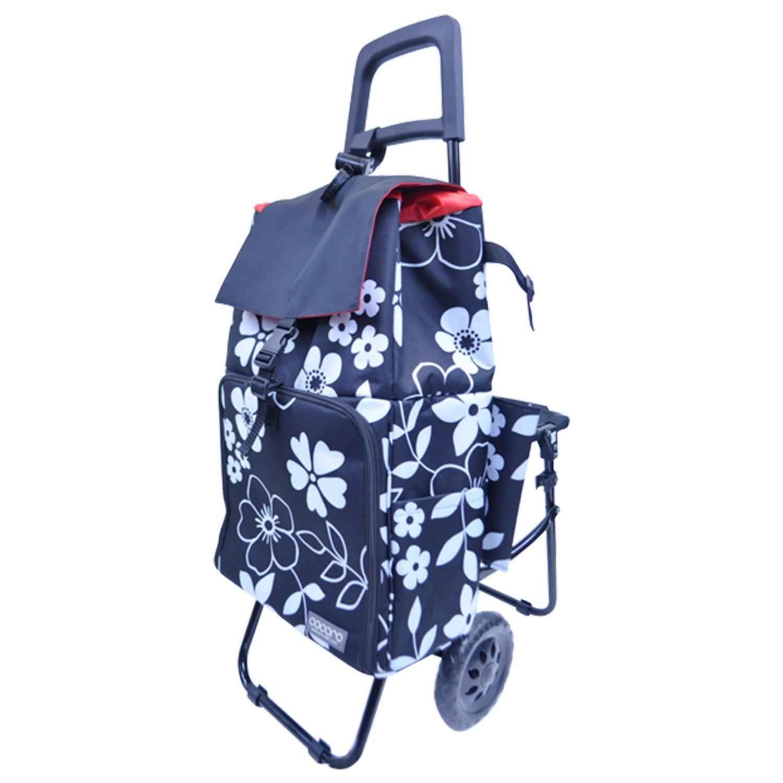 レップ COCORO(ココロ) ショッピングカート チェア付き 折りたたみ (保冷保温機能) バッグ2層式 ブラック 5790 BK B06Y6HXR6Nブラック