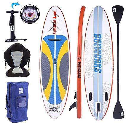 Surfboard Aufblasbares Sup Board mit Pumpe Alu-Paddel 305-330cm Kajak-Sitz