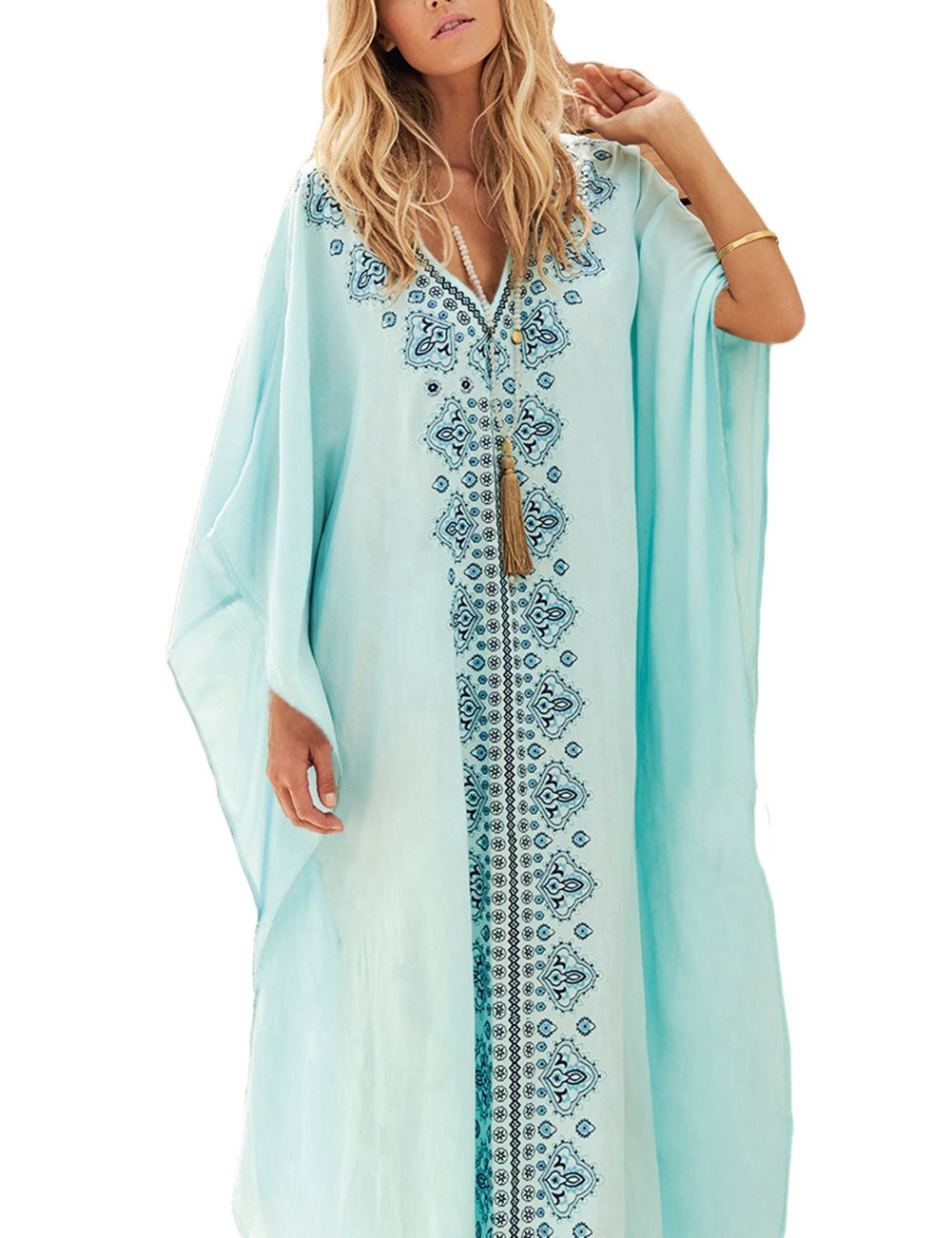 Bsubseach Kaftan Dresses for Women V Neck Batwing Sleeve Beach Turkish Dress Loose Swimsuit Bikini Cover up Swimwear Light Blue