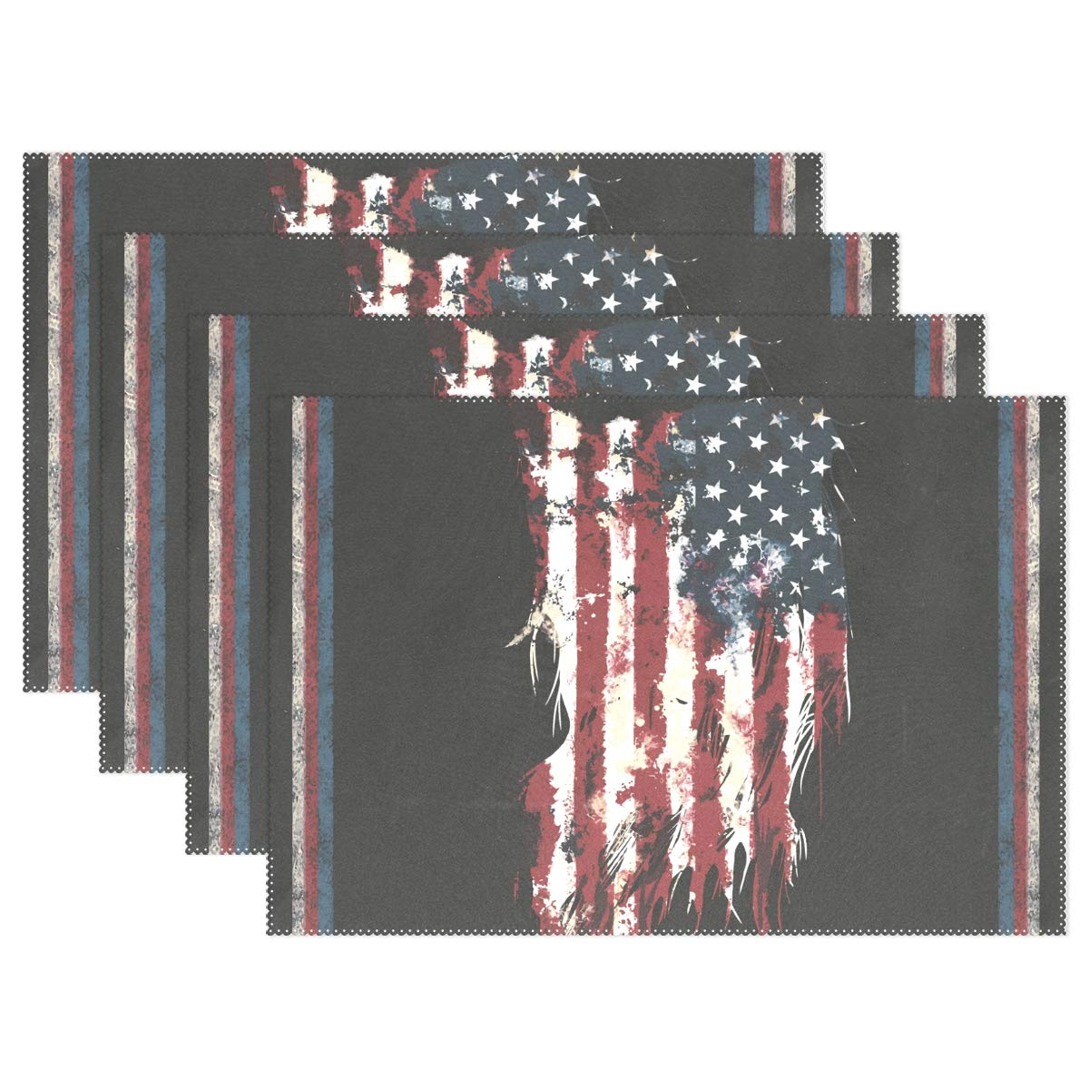 baihuishop America Flag Placemats Heat-Resistant Washable Table Mats 12 X 18 Inch Placemats for Family Kitchen Hotel Coffee Shop Dinning Restaurant Set of 6