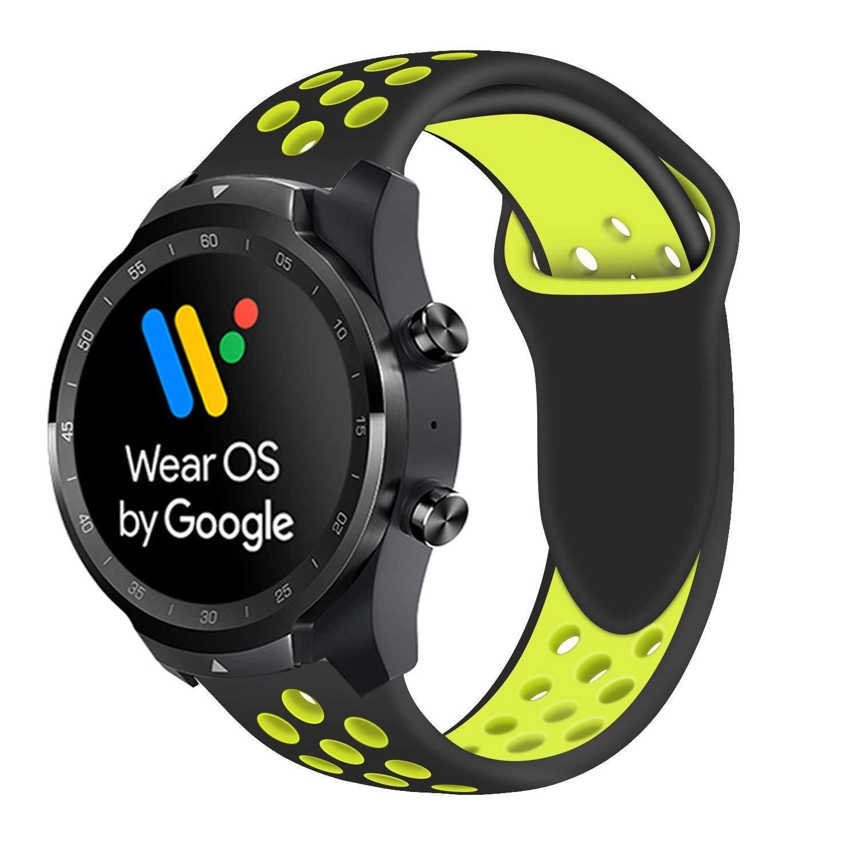 Ceston Deporte Silicona Clásico Correas para Smartwatch TicWatch Pro (Negro + Amarillo)
