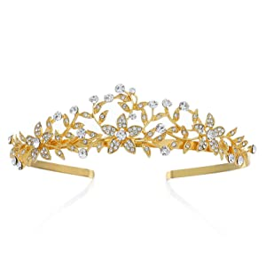 SWEETV Gold Tiara Headband for Women, Crystal Leaf Bridal Tiaras and Crowns for Wedding Birthday Party Prom