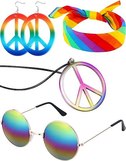 Amazon.com: Juego de 4 piezas Hippie para disfraz, gafas y ...