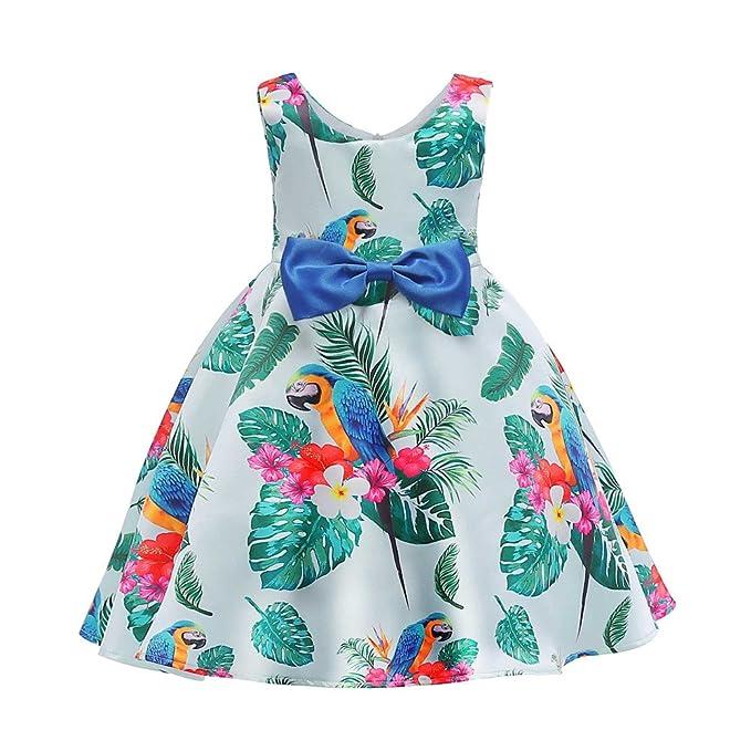 feiXIANG Bambina Bambino Abiti Stampa Fiori Animalier Moda Gonna Vestito da  Principessa Vestiti di Formale Carnevale Estivi Abito Senza Maniche Mini   ... ae8f7019c4c