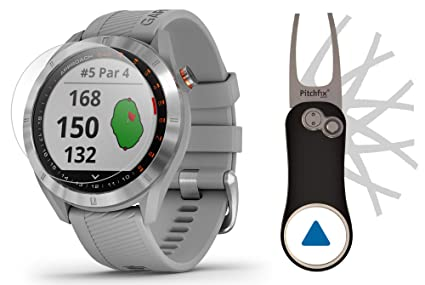 Garmin Approach S40 (Gray) Golf GPS Smartwatch Bundle | Includes Garmin/PlayBetter Pitchfix Divot Tool & HD Screen Protectors | Stainless Steel, Color ...