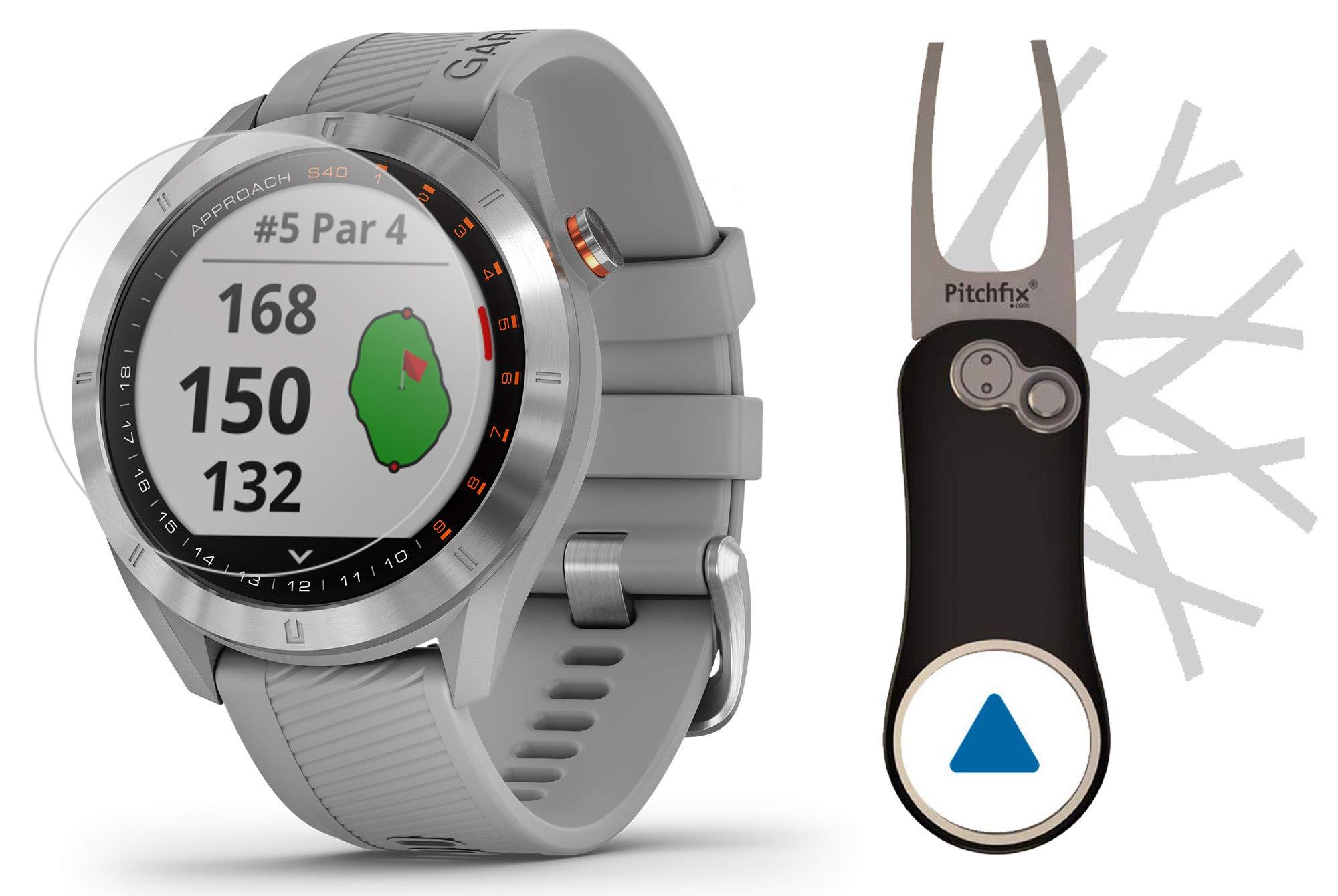 Garmin Approach S40 (Gray) Golf GPS Smartwatch Bundle   Includes Garmin/PlayBetter Pitchfix Divot Tool & HD Screen Protectors   Stainless Steel, Color Touchscreen, 41,000+ Courses   010-02140-00