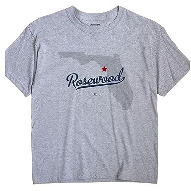 Amazon Com Greatcitees Rosewood Florida Fl Map Unisex Souvenir T