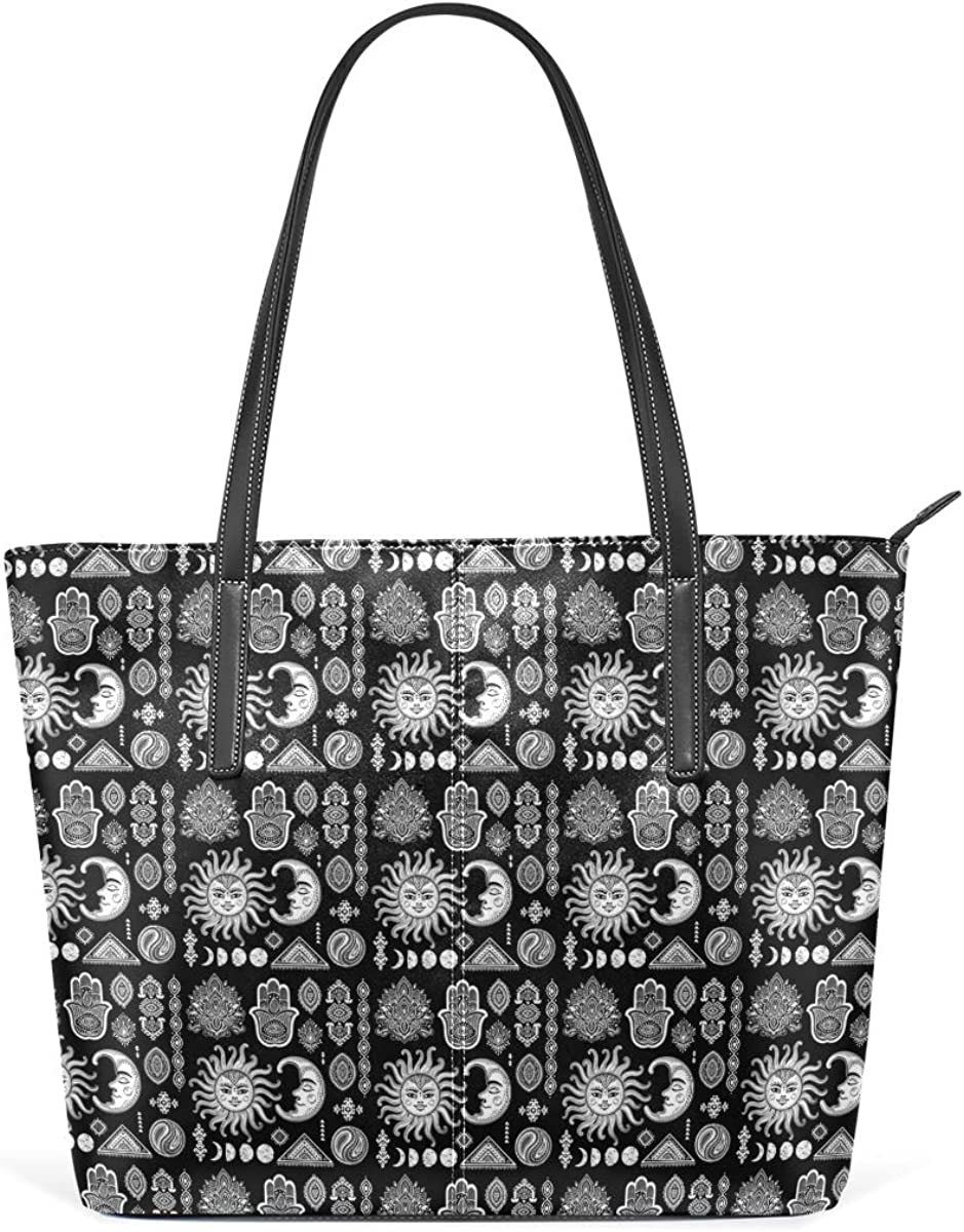 Tribal Ethnic Mexican African Ornament Womens PU Leather Tote Shoulder Bags Handbags Casual Bag