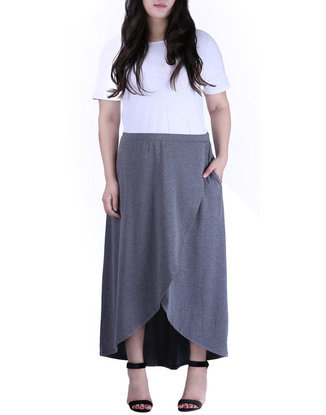 HDE Women's Plus Size Lightweight Long Maxi Skirt with Pockets