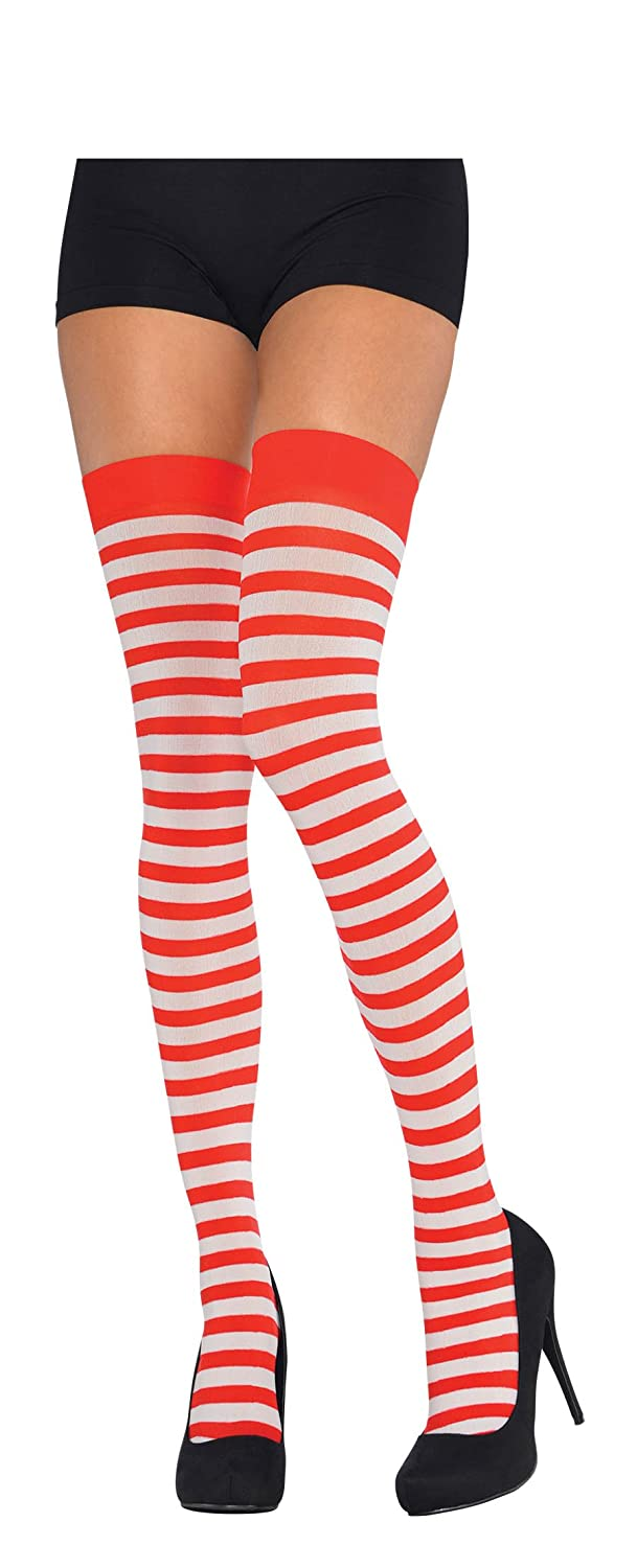 d1f6f55844f Amscan Womens Red   White Stripe Thigh Highs Socks Ladies Party Fancy Dress  Accessory  Amazon.co.uk  Clothing