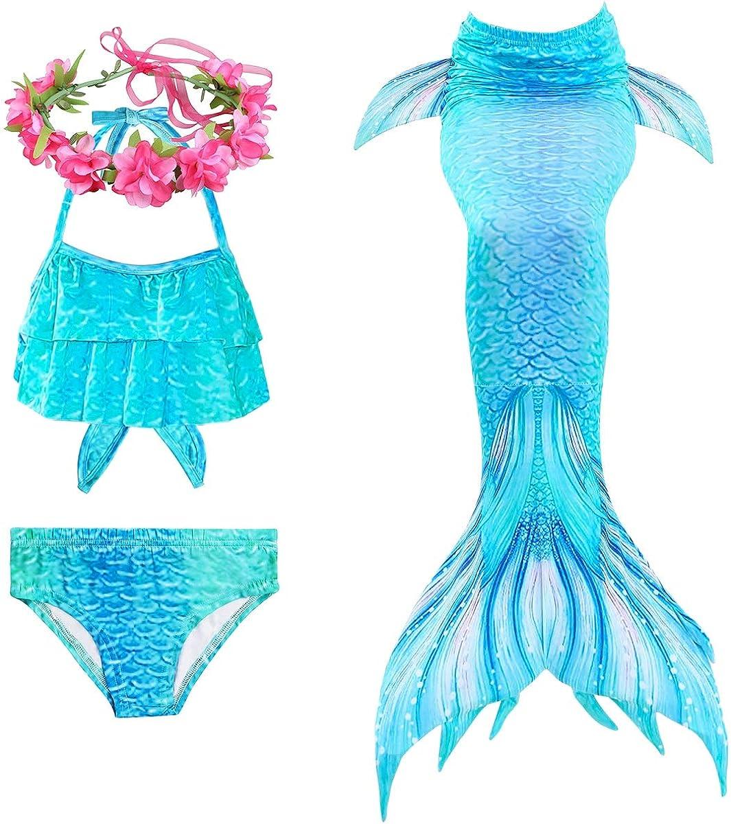 PaisDola Filles sir/ène Queue Enfants Costume de Natation Inclus 3Pcs Bikini Maillot de Bain et Bandeau Guirlande de Fleurs