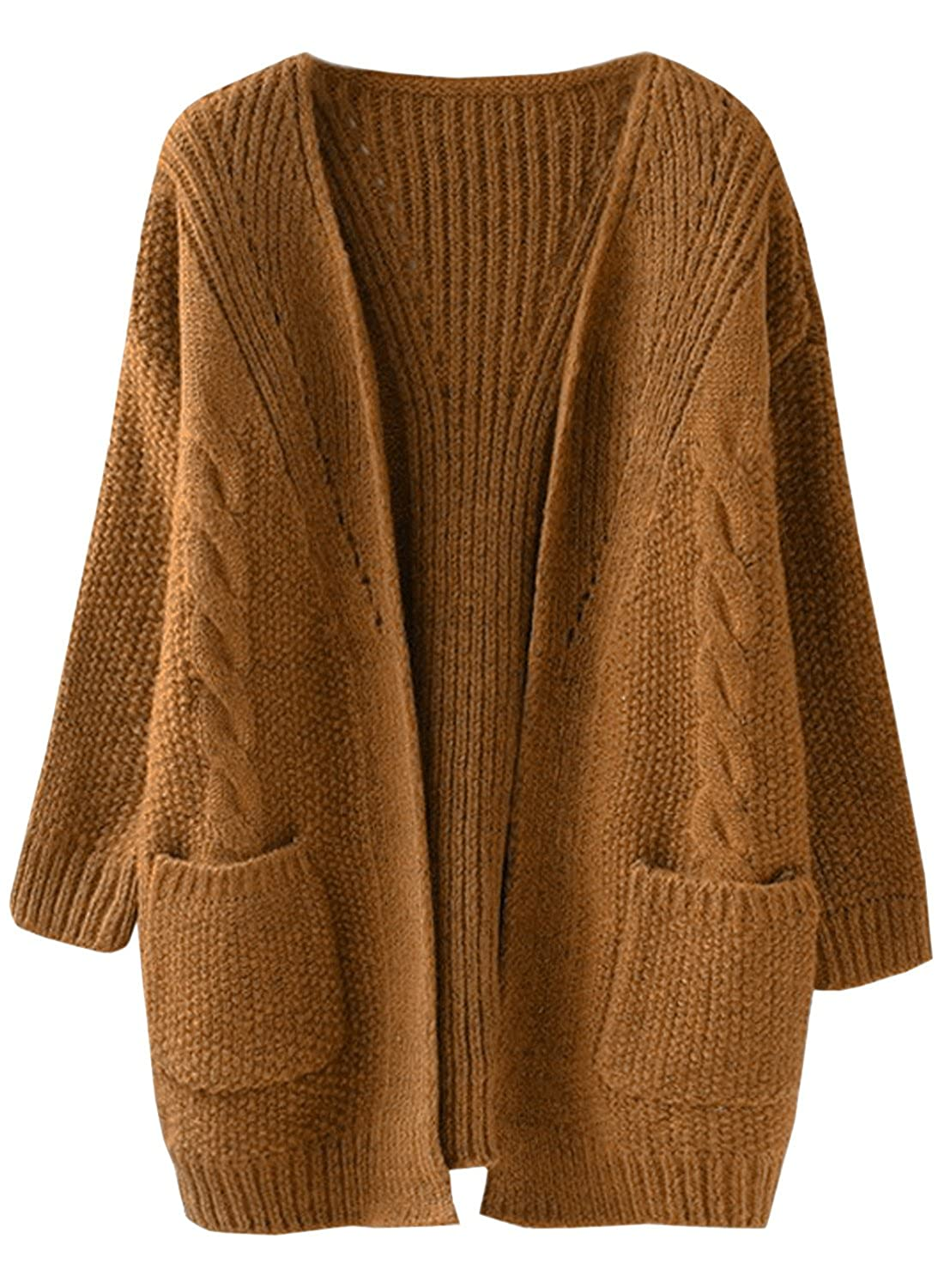 Futurino Women's Cable Knitted Boyfriend Pocket Open Front Cardigan
