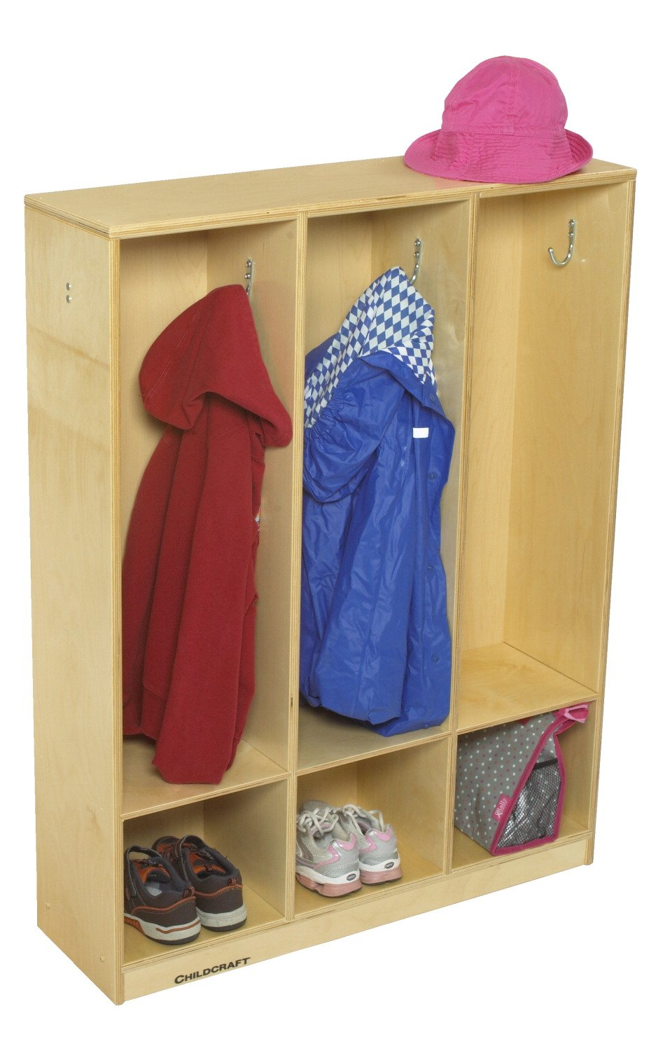 Childcraft 1464168 3-Section Coat Locker, 42'' Height, 9.63'' Width, 32.5'' Length, Natural Wood