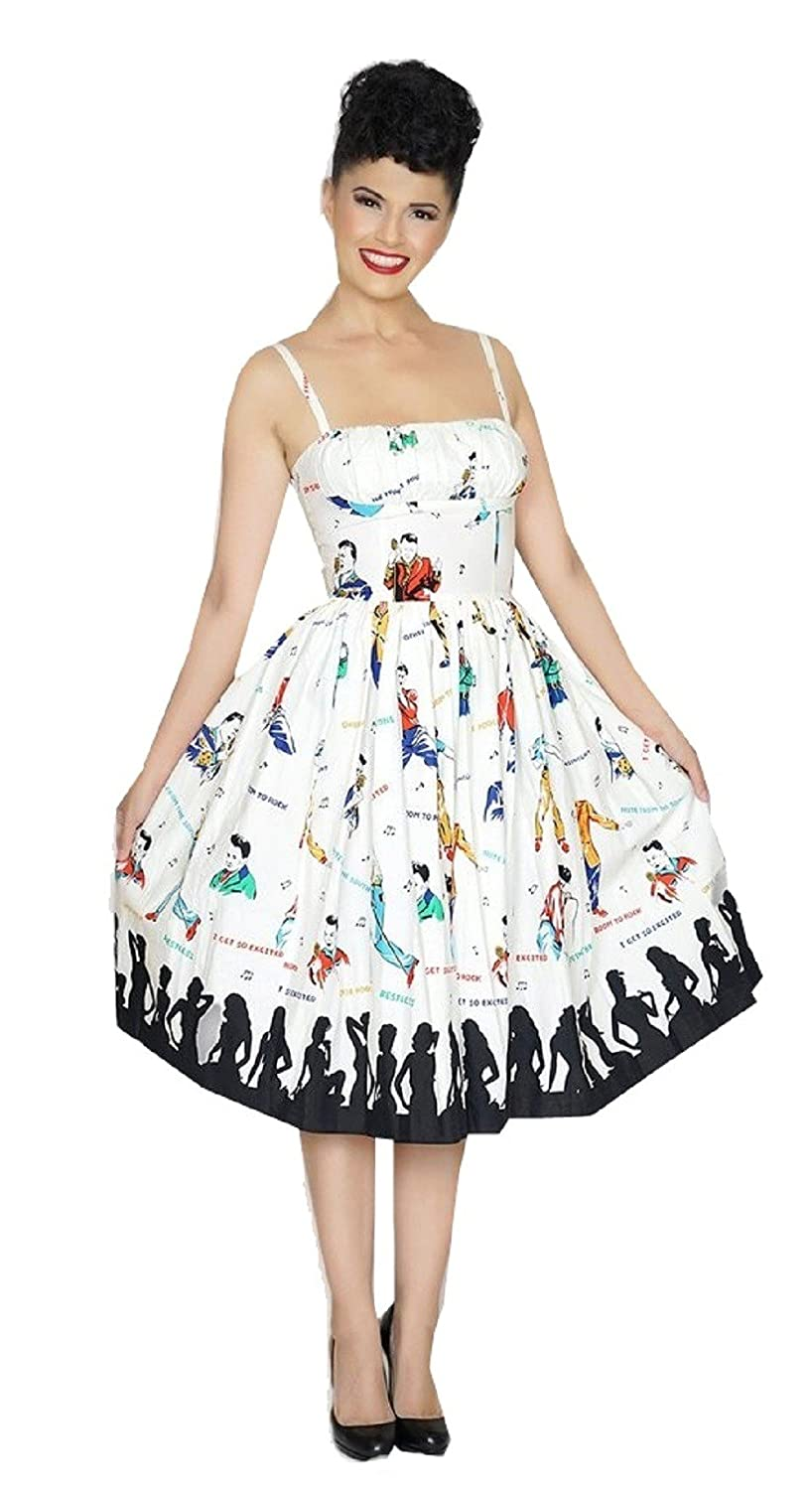 1950s Inspired Fashion: Recreate the Look Bernie Dexter Paris Dress In Rockabilly Idol Print Retro Inspired $172.00 AT vintagedancer.com