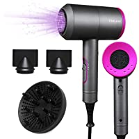 2000w Fön Haartrockner 4-in-1 Professional Hair Dryer Braun Klein Haarfön Mit 3 Geschwindigkeiten, 3 Stylingdüsen und Diffusor, Warm und Kühl Wind Airwrap