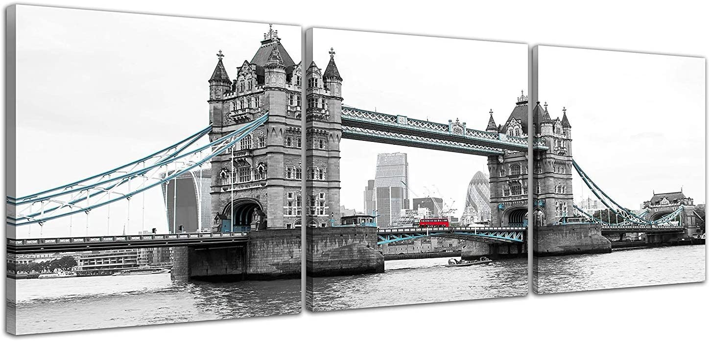NAN Wind 3 Pcs Modern London Tower Bridge Canvas Prints Red Bus on London Bridge Black and White Wall Art Landscape Wall Decor Paintings on Canvas Stretched and Framed Ready to Hang for Home Decor