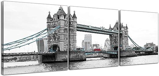 Tower Bridge London B/&W Canvas Landmark Landscape Wall Art Picture Home Decor