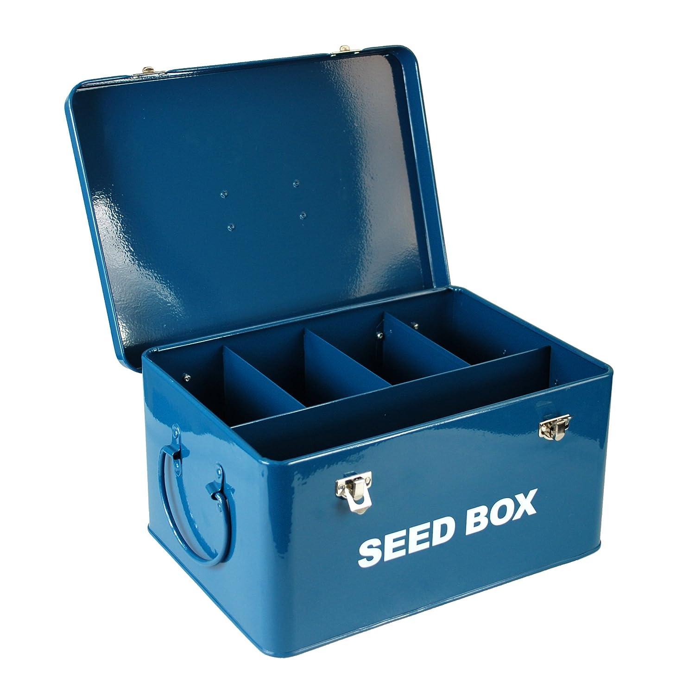 Boîte de rangement Simpa paquets de semences de style vintage –utilitaire en métal recouvert d'acier robuste pour le jardinage serre et les pollinisateurs.