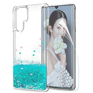 LeYi Funda Huawei P30 Pro Silicona Purpurina Carcasa con HD Protectores de Pantalla,Transparente Cristal Bumper Telefono Fundas Case Cover para Movil ...
