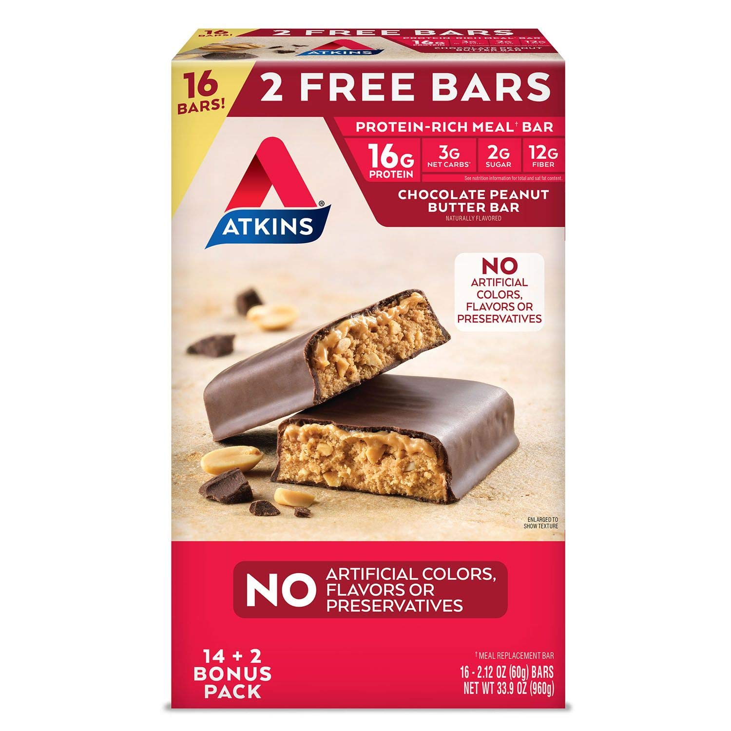 Atkins Protein-Rich Meal Bar, Chocolate Peanut Butter,16Bars - - Delivery Within 2-3 Days