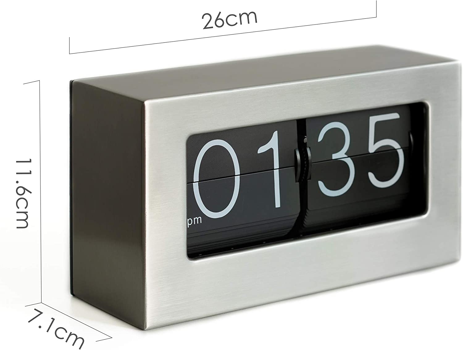 Desktop Tabletop Clock for Shelf Home Stainless Steel Wall Mounted Desk /& Shelf Decorative with Premium Cards Flipping Down Clock for Office 10.5 x 6 x 3.2 inches Rejea WonderZoo Auto Flip Clock