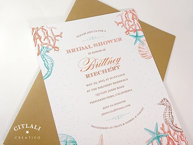 Amazon Com Beach Bridal Shower Invitation Set Of 10 Coral Reef