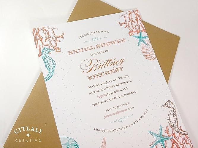 c5bb6205cad Amazon.com  Beach Bridal Shower Invitation