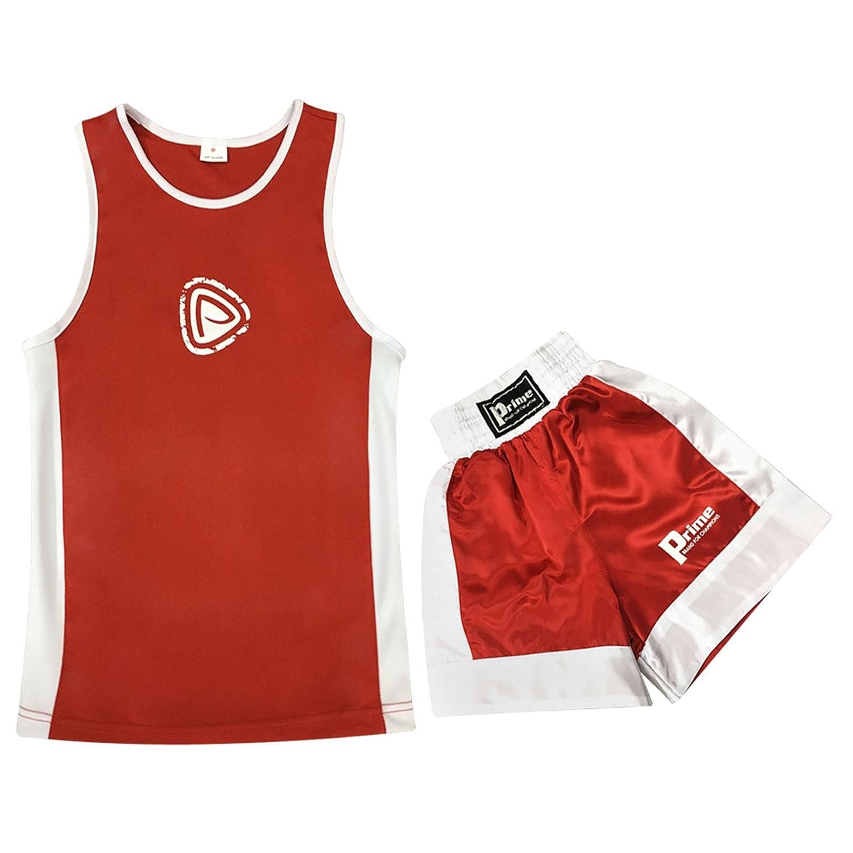 20cecb1eb4 canotta pantaloncini guantoni da 6 once rossi e bianchi Prime divisa da  boxe per bambini con paracolpi nero e rosso ...
