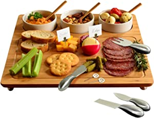 Picnic at Ascot Bamboo Cheese Board/Charcuterie Platter - Includes 3 Ceramic Bowls, Bamboo Spoons, Stainless Steel Cheese Tools, Cheese Markers - Designed and Quality Checked in the USA