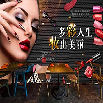 Amazon Com Modern Fashion Nail Art Wallpaper Retro Makeup Beauty Lines Eyebrow Lip Tooling Background Wallpaper 3d Hair Salon Mural 350cmx245cm Home Improvement