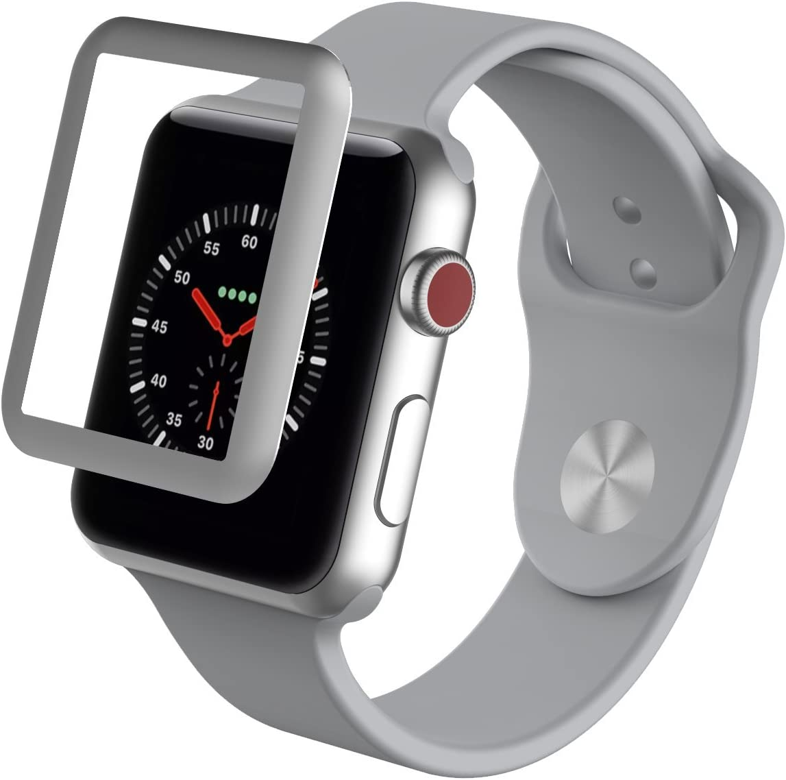 ZAGG InvisibleShield Glass Luxe HD Clarity + Reinforced, Tempered Glass Screen Protector for Apple Watch (38mm) Series 3 - Silver
