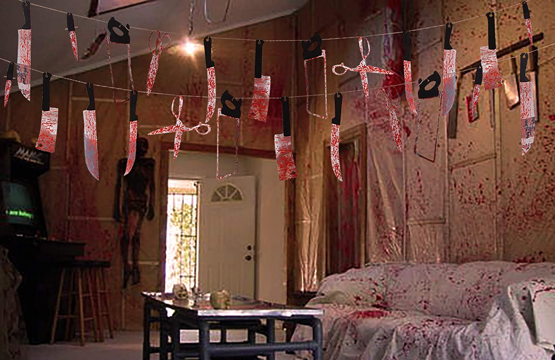 JISHANE 2 Set Bloody Weapons Garland Banner Halloween Zombie Vampire Party Decorations Supplies 24 Pieces