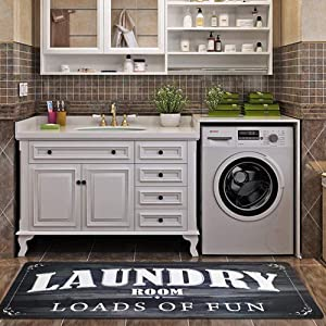Satbuy Laundry Room Load of Fun Rug Floor Mat for Washroom Mudroom Non Skid Rubber Waterproof Kitchen Mat, 20x48,Black