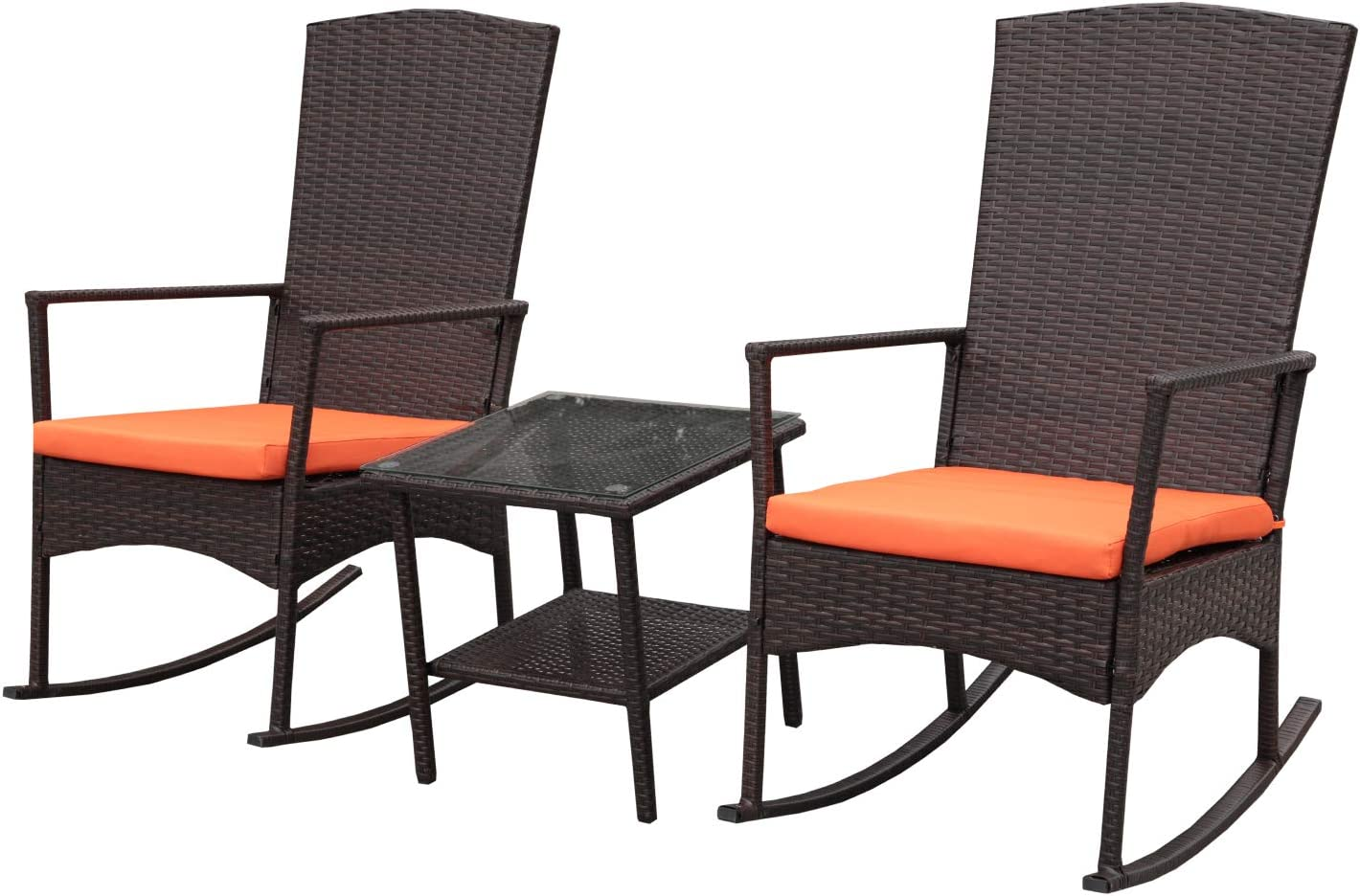 Amazon Com Rattaner Outdoor 3 Piece Wicker Rocking Chair Set Patio Bistro Set Conversation Furniture 2 Rocker Chair And Glass Coffee Side Table Mix Brown Rattan Orange Cushion Garden Outdoor