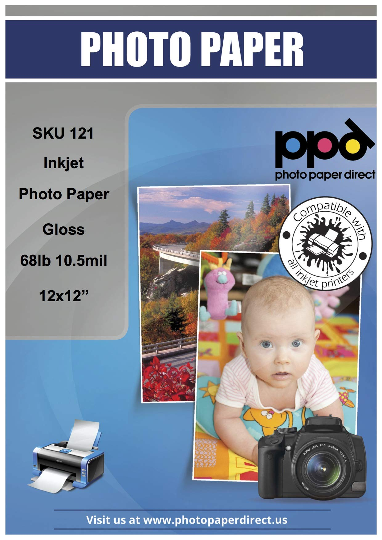 PPD Inkjet Glossy Super Premium Photo Paper 12x12'' 68lbs. 255gsm 10.5mil x 50 Sheets (PPD121-50)