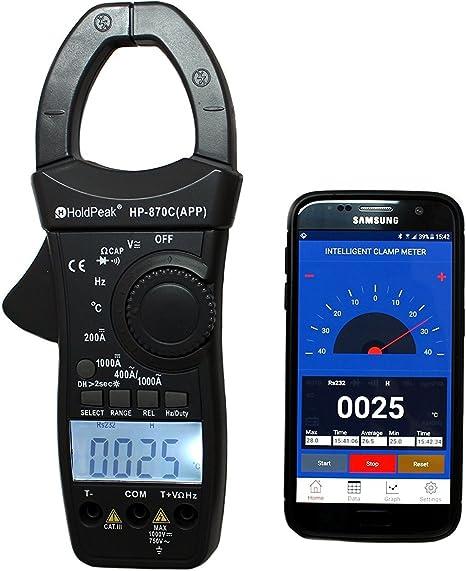 Holdpeak Hp 870c App Zangen Multimeter Stromzange Ac Dc C Bluetooth App Gleichstromzange Digital Amperemeter Dunkelgrau Baumarkt