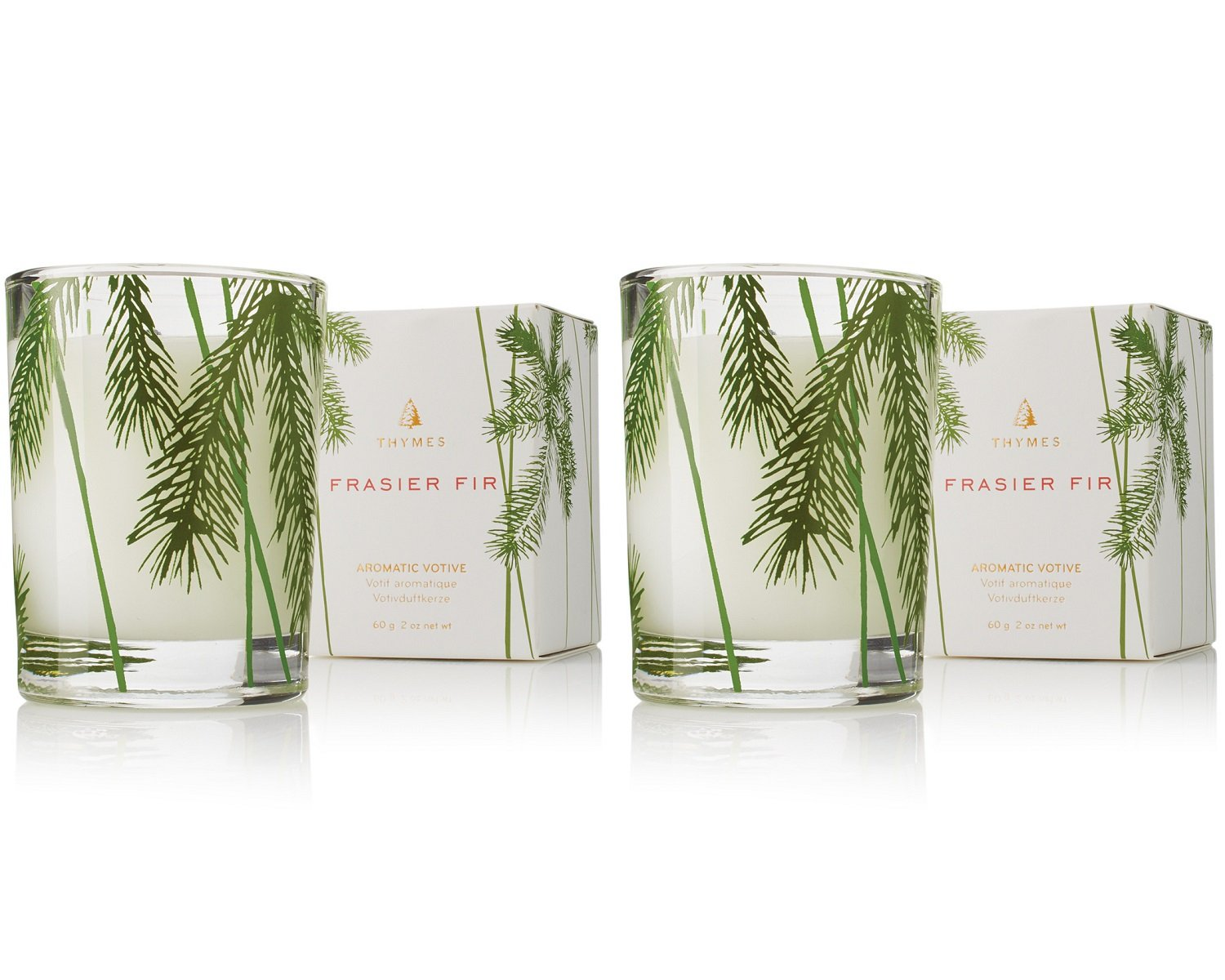 Thymes - Fragrant Frasier Fir Votive Candle with 15-Hour Burn Time - 2 Ounces, Set of 2