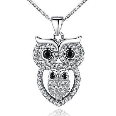 Mom Baby Owl 925 Sterling Silver Crystal Owl Lover Bird Pendant Necklace 18 DKSmJdZV