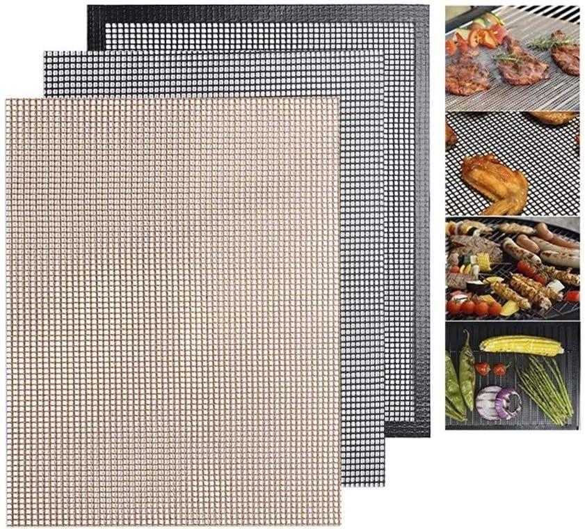 Ushixishiq Non Stick Barbecue Mesh Tapis réutilisable résistance à la chaleur de cuisson BBQ net Tapis Teflon Griller Feuille BBQ Liner Tapis de barbecue (Color : Black) Black