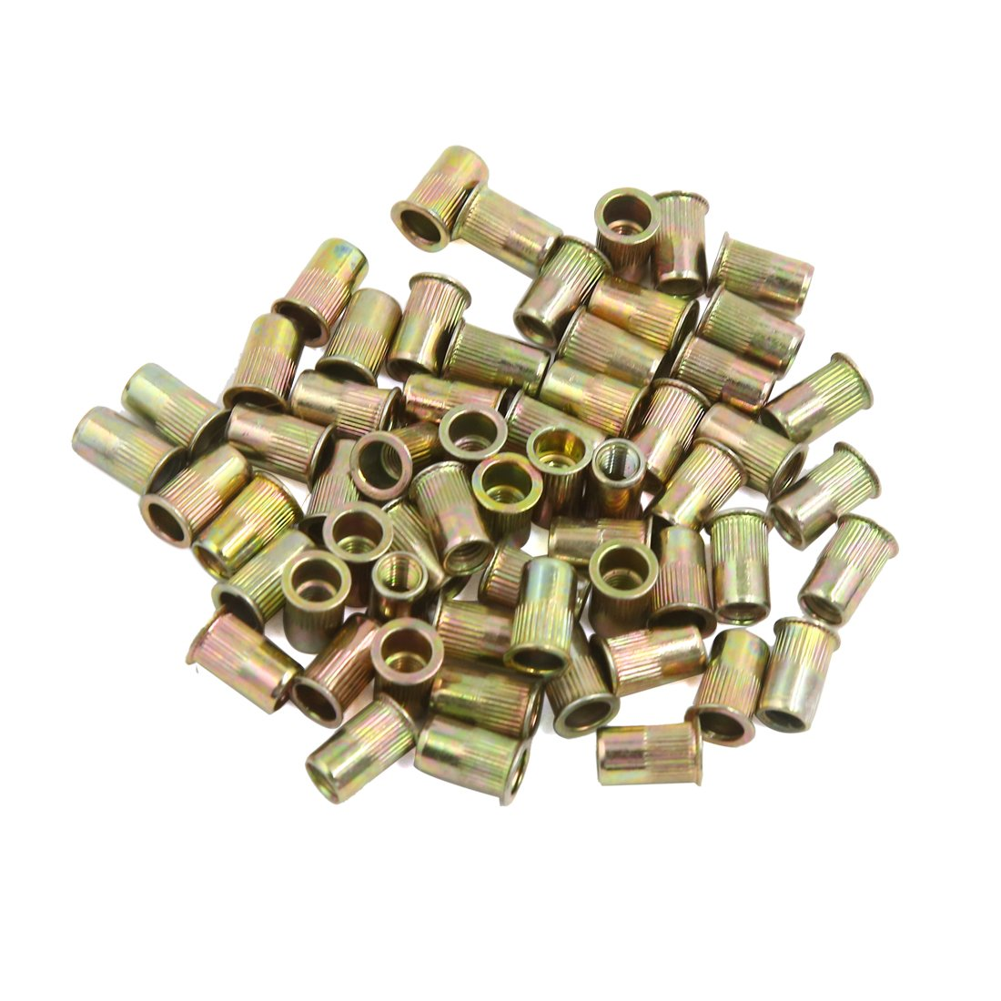 uxcell a16073000ux1890 60 Pcs M5 Bronze Tone Stainless Steel Thread Small Head Rivet Nut Nutserts, Pack