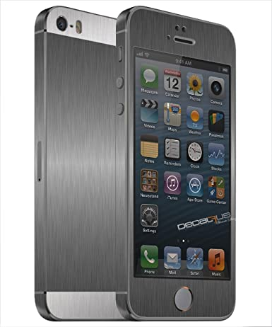 Decalrus - Apple iPhone 5S FullBody Two Tone TITANIUM with Silver Texture Brushed Aluminum Carbon Fiber