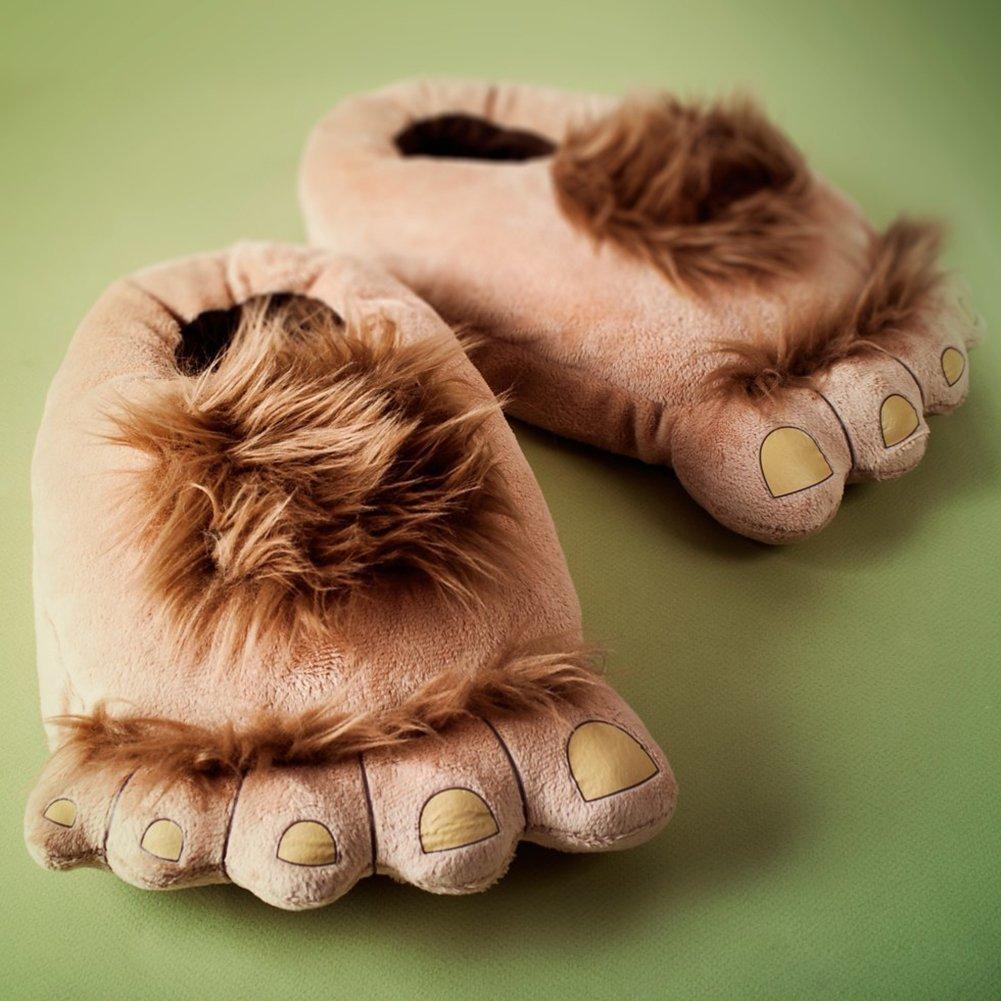 COSEAN Men Women Adults Warm Winter Soft Cute Plush Anti-slip The Hobbit Slippers Shoes Indoor Home