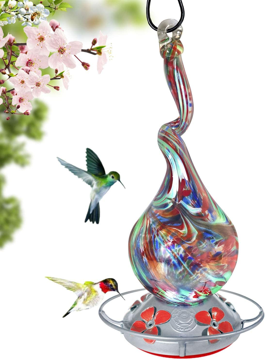 Grateful Gnome - Hummingbird Feeder - Hand Blown Glass - Gnarly Glass Neck Gourd - 16 Fluid Ounces