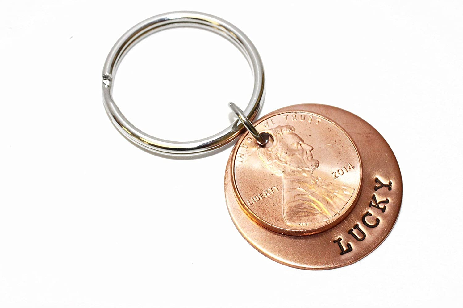 Lucky us penny keychain 2 pennies custom hand stamped copper anniversary gift Husband Gift Boyfriend Gift
