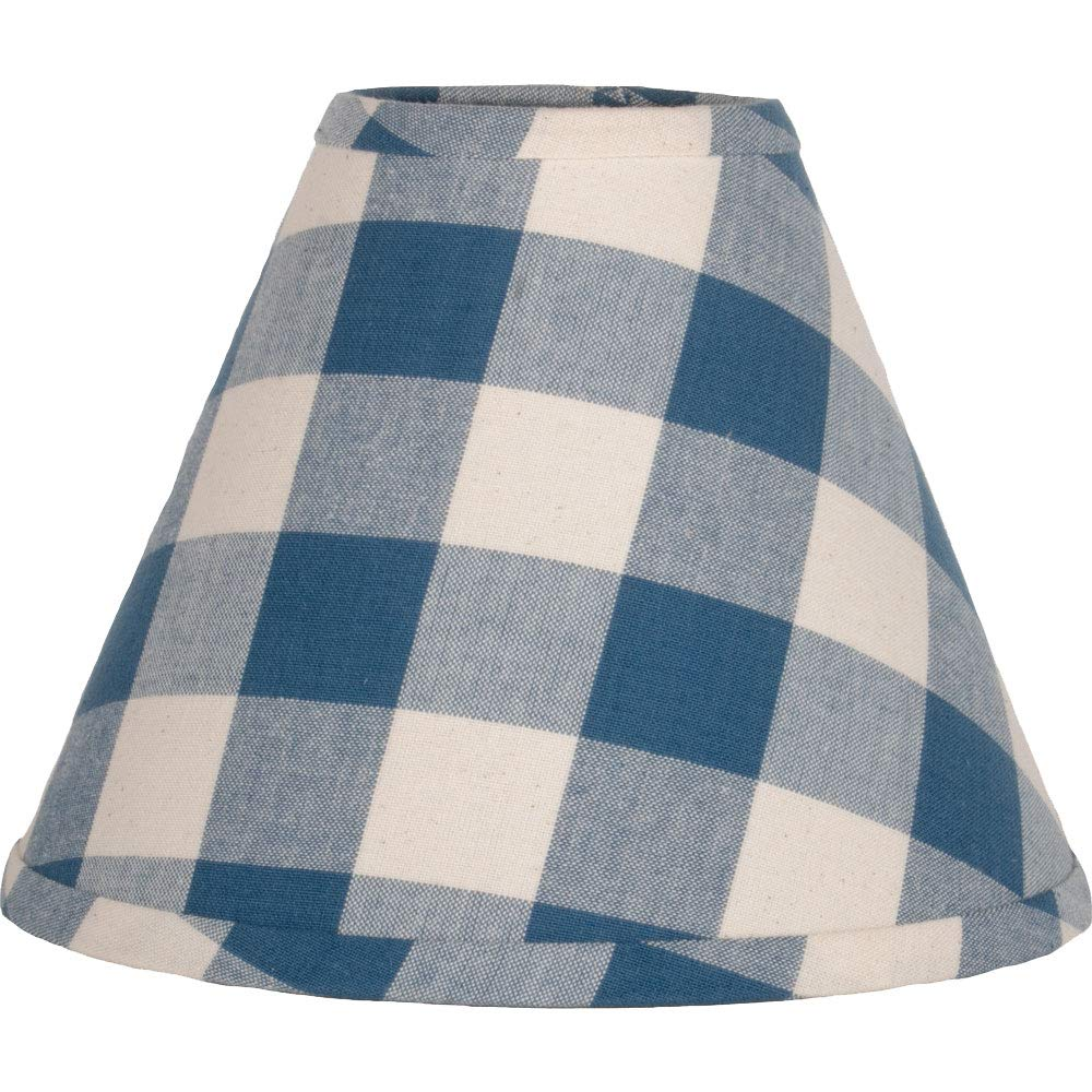 Home Collections by Raghu 16 inch Lamp Shade Buffalo Check Colonial Blue-Buttermilk Washer