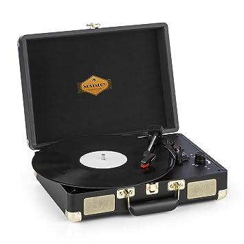 auna Peggy Sue Tocadiscos con Altavoces - Gramola para Discos de Vinilo , 33, 45 y 78 RPM , USB , Conector para Auriculares , Fácil de Transportar , ...